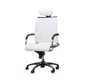 Modern office chair from white leather. Isolated Royalty Free Stock Photos