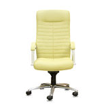 Modern office chair from yellow leather Royalty Free Stock Images