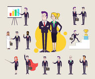 Modern office characters set.  Different poses and situations. Collection of  illustrations. Linear flat design. Stock Photos