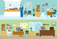 Modern Office Compositions. With people at workplaces and nobody in green room isolated vector illustration Stock Photo