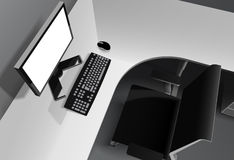 Modern office with computer on desk and black chair Royalty Free Stock Photography