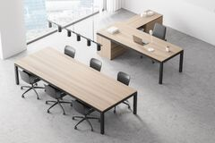 Free Modern Office Contemporary Interior. Conference Table. CEO Desk. City View, Panoramic Window. Top View Stock Photography - 211858552