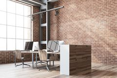 Brick wall open space office corner Royalty Free Stock Photography