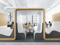 Modern office with creative spaces. 3d rendering Stock Photo