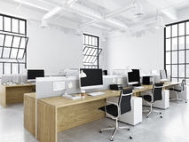 Modern office with creative spaces. 3d rendering Stock Photos