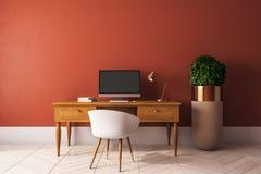 Modern office with designer desktop. Modern office interior with creative designer desktop, chair and decorative plant on orange wall background. Mock up, 3D vector illustration