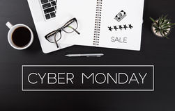 Modern Office desk with Cyber Monday message homepage. On the table business sale offer special concept Stock Photo