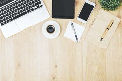 Modern office desk with empty devices stock photo