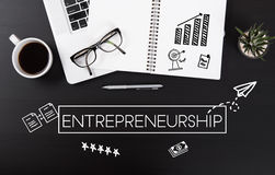 Modern Office desk with Entrepreneurship homepage on the table. Royalty Free Stock Photography