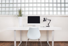 Modern office desk front view Royalty Free Stock Images