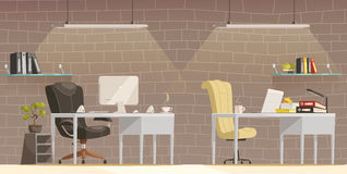 Modern Office Desk  Lighting  Cartoon Poster Royalty Free Stock Photography