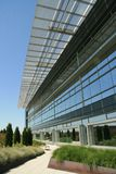 Modern Office Exterior walkway. A platinum Leed office building displays the modern sleek look design while being environmentally friendly 8th floor Royalty Free Stock Photography