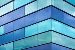Modern office facade fragment with blue glass Royalty Free Stock Photo