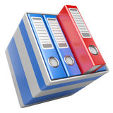 Modern office folders with documents in box Royalty Free Stock Image