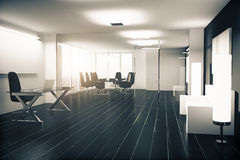 Modern office with furniture, vitreous walls and black wooden fl Royalty Free Stock Images