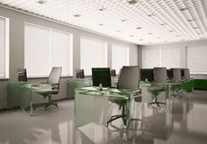 Modern office with glass tables 3d. Modern office with glass tables interior 3d render