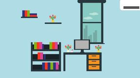 Modern office with good atmosphere. Vector illustrations stock illustration