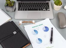 Free Modern Office Grey Desk With Reports And Modern Gadgets Close Up Royalty Free Stock Image - 218071126