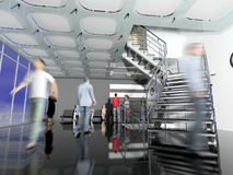 The modern office hall. The modern  office hall interior with stairs and moving people Stock Photography