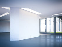 Modern office hall with blank wall. 3d rendering. Modern office hall with blank white wall. 3d rendering Royalty Free Stock Photography