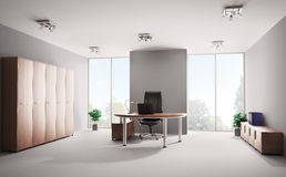 Modern office interior 3d. Modern office with wooden furniture interior 3d