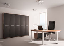 Modern office interior 3d. Modern office with wooden table interior 3d render