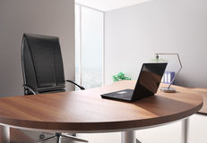 Modern office interior 3d. Modern office with laptop interior 3d render