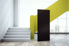 Modern office interior with ad banner. Modern concrete office interior with yellow stairscase, panoramic city view and empty blank ad banner. Mock up, 3D Stock Photo