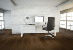 Modern office interior with brown wooden floor and big windows Royalty Free Stock Photos