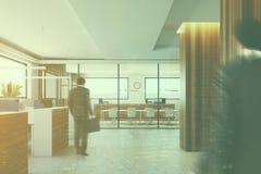 Wooden columns office interior toned Stock Photos