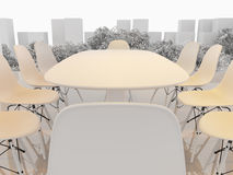 Modern office interior. 3D Rendering. Modern office interior. Meeting room with mock up panoramic cityscape Stock Images