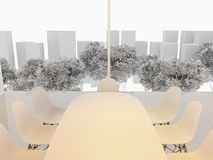 Modern office interior. 3D Rendering. Modern office interior. White meeting room with mock up panoramic cityscape Stock Image