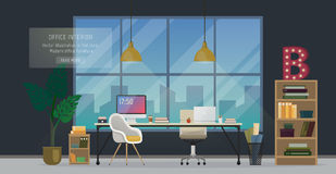 Modern office interior. Design of modern office designer workplace. Creative office workspace with big window, desktop, modern monitor, furniture in interior Royalty Free Stock Photos