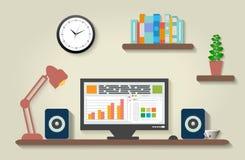 Modern office interior with designer desktop. In flat design Stock Photography
