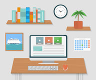 Modern office interior with designer desktop Royalty Free Stock Images