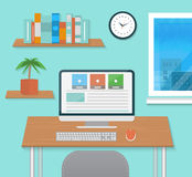 Modern office interior with designer desktop Royalty Free Stock Image