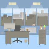 Modern office interior with designer desktop in flat design. Interior office room. Modern office room. Royalty Free Stock Photography