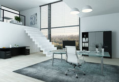 Modern office interior with desk Stock Photos