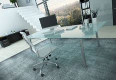 Modern office interior with desk Royalty Free Stock Photos