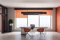 Modern office interior. With desktop and chairs, window with city view and daylight, concrete floor and orange walls. 3D Rendering stock illustration