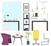 Modern office interior elements. Office furniture collection. Royalty Free Stock Image