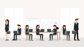 Modern office interior with employees stock photos