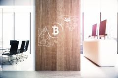 Market concept. Modern office interior with equipment, reception desk, city view and creative bitcoin sketch on wooden wall. Market concept. 3D Rendering Royalty Free Stock Image