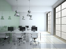 Modern office interior with glass wall Stock Photography