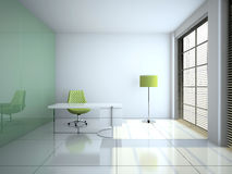 Modern office interior with glass wall 3D rendering vector illustration