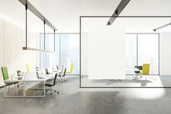 Modern office interior, green and yellow chairs Royalty Free Stock Image