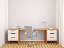 Modern office interior. Modern home office interior. 3d render Royalty Free Stock Image