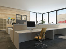 Modern office interior with multiple work stations Stock Photography