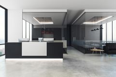 Modern office interior with reception. Desk, city view and daylight. 3D Rendering Stock Image