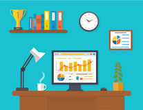 Modern office interior with seo desktop Royalty Free Stock Photography